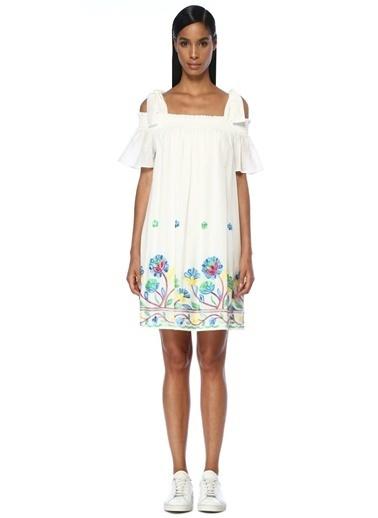 Beymen Club Kare Yaka Midi Elbise Beyaz